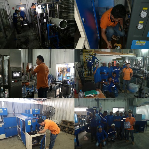 Shenzhen J&D Drinking Water installed and commissioned 2000L RO water treatment and 16-12-6 filling machines and semi-automatic